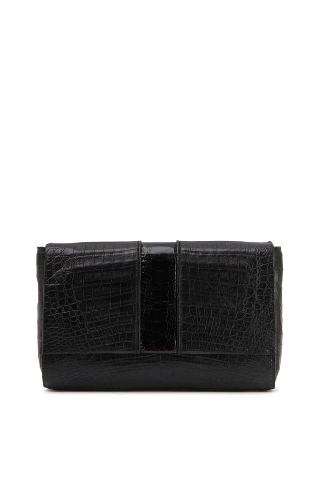 Front Flap Black Crocodile Clutch