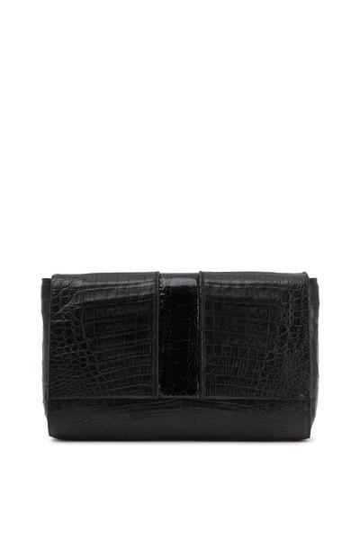 Nancy Gonzalez - Front Flap Black Crocodile Clutch