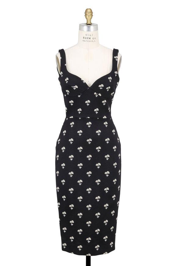 Victoria Beckham Black Daisy Jacquard Cami Dress
