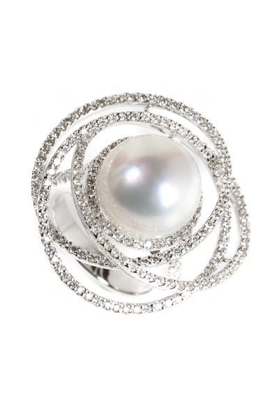 Assael - White Gold South Sea Pearl Diamond Button Ring