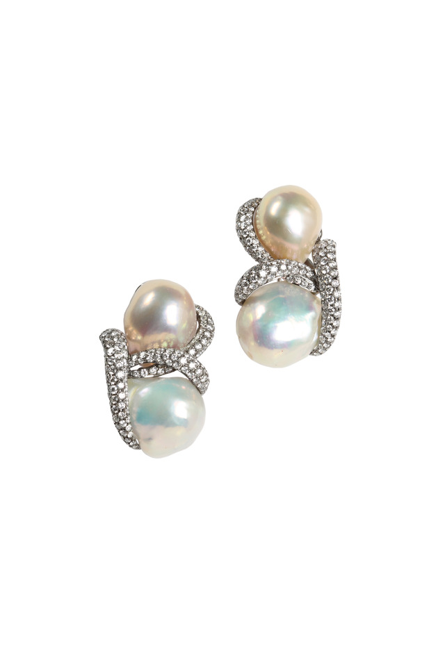 White Gold Baroque Pearl Diamond Earrings