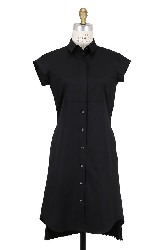 Sacai Black Poplin Pleated Back Shirtdress