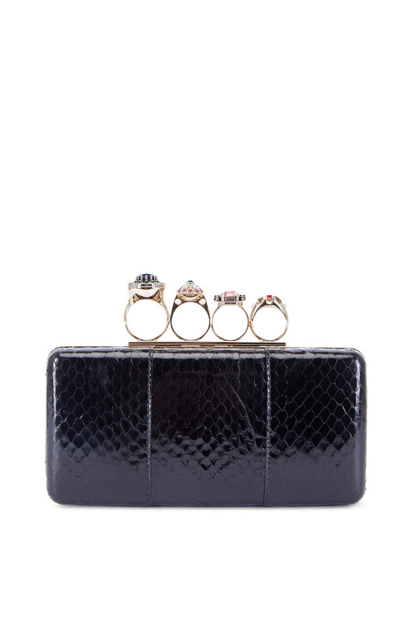 Alexander McQueen Nova Whips Black Snakeskin Jewelry Ring Box Clutch