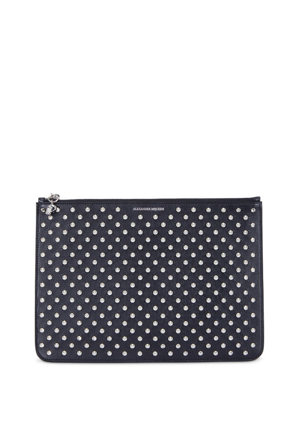 Alexander McQueen Black Studded Leather Large Zip Pouch