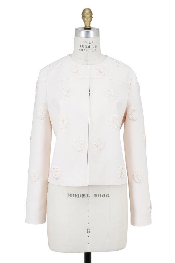 Valentino Ivory Crêpe Couture Floral Appliqué Jacket