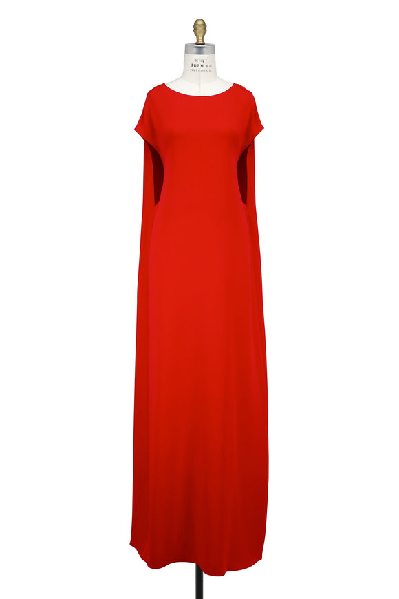 Valentino Red Silk Draped Open Back Cape Gown