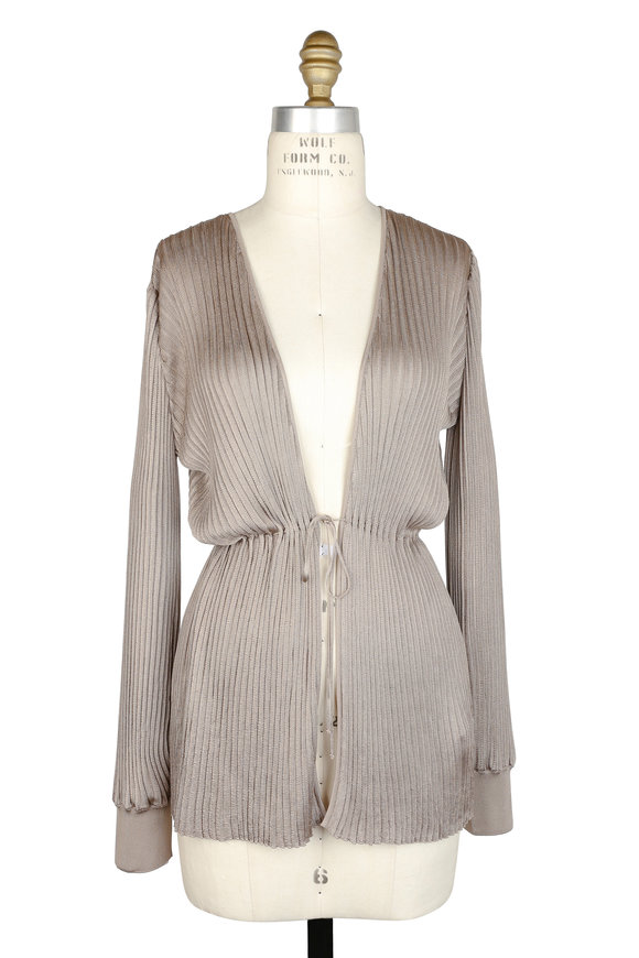 Agnona Taupe Plissé Self-Tie Top