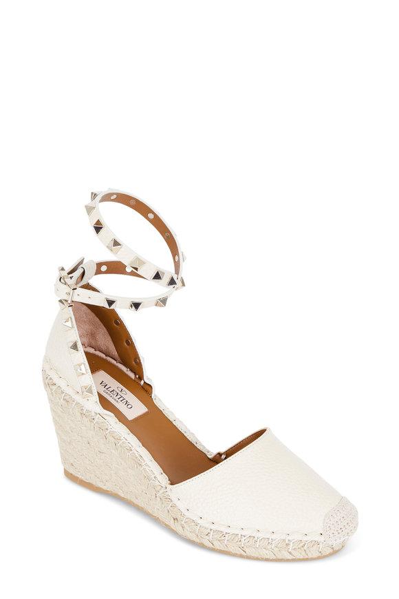 Valentino Rockstud Ivory Espadrille Wedge Sandal, 75mm