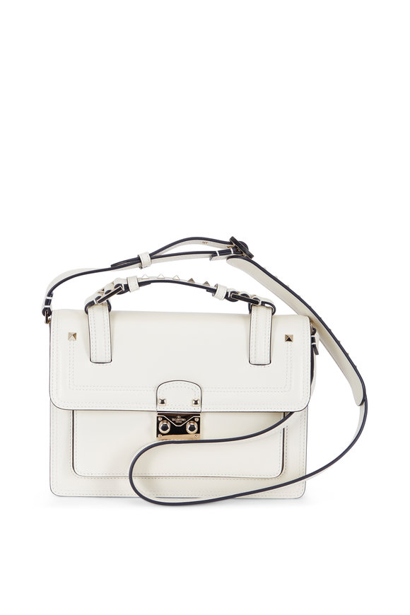 Valentino Cabana Ivory Leather Small Top Handle Bag