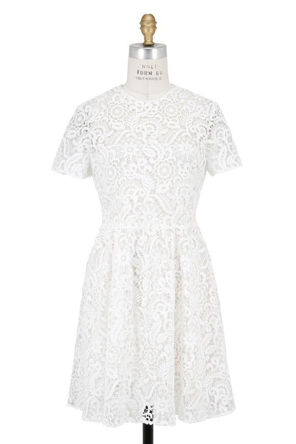 Valentino Ivory Lace Short Sleeve Dress