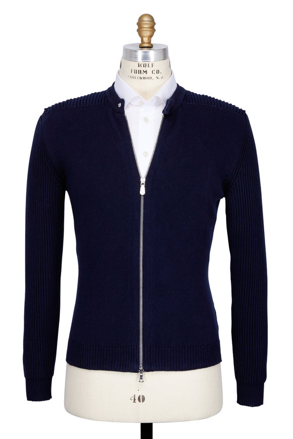 Eleventy Navy Blue Cotton Moto Zip Front Cardigan