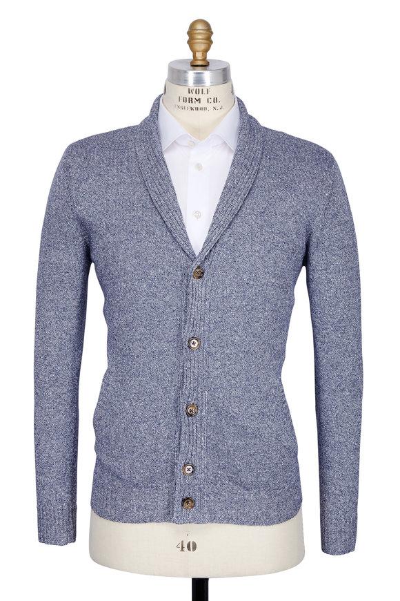 Eleventy Light Blue Shawl Collar Button Cardigan