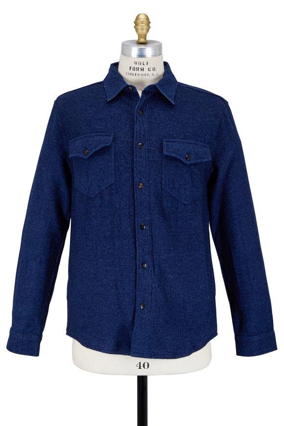 Faherty Brand Indigo Heather CPO Utility Shirt