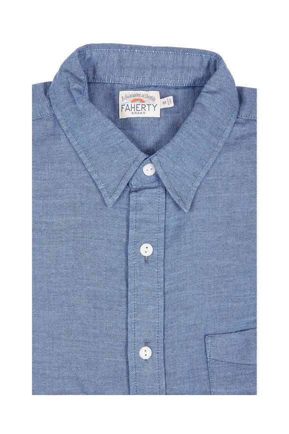 Faherty Brand Ventura Blue Micro Herringbone Sport Shirt