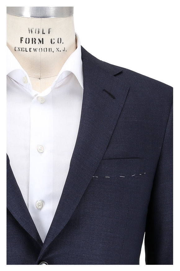 Oxxford Clothes Dark Slate Nailhead Wool Suit