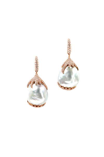 Assael - Pink Gold South Sea Baroque Pearl Diamond Earrings