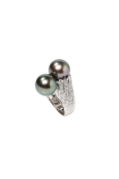 Assael - Tahitian Pearl White Gold Diamond Ring