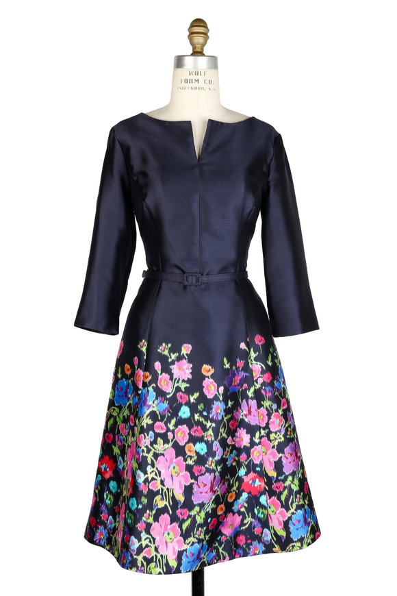 Oscar de la Renta Navy Floral Print Silk Three-Quarter Sleeve Dress