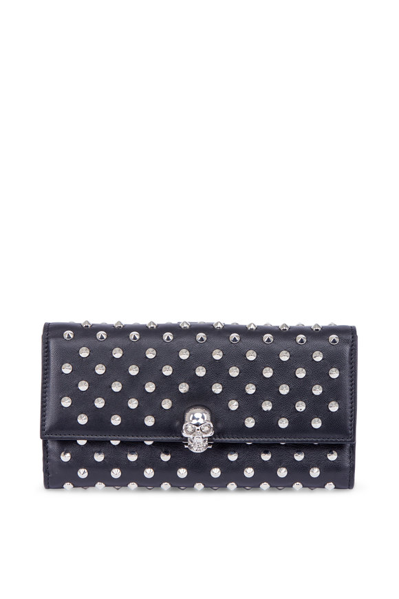 Alexander McQueen Black Studded Leather Continental Wallet