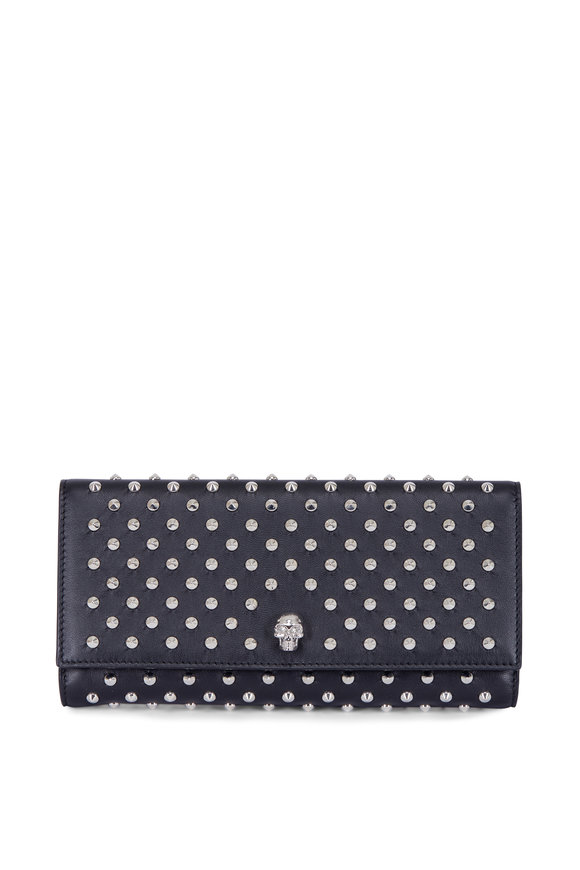 Alexander McQueen Black Studded Leather Travel Wallet