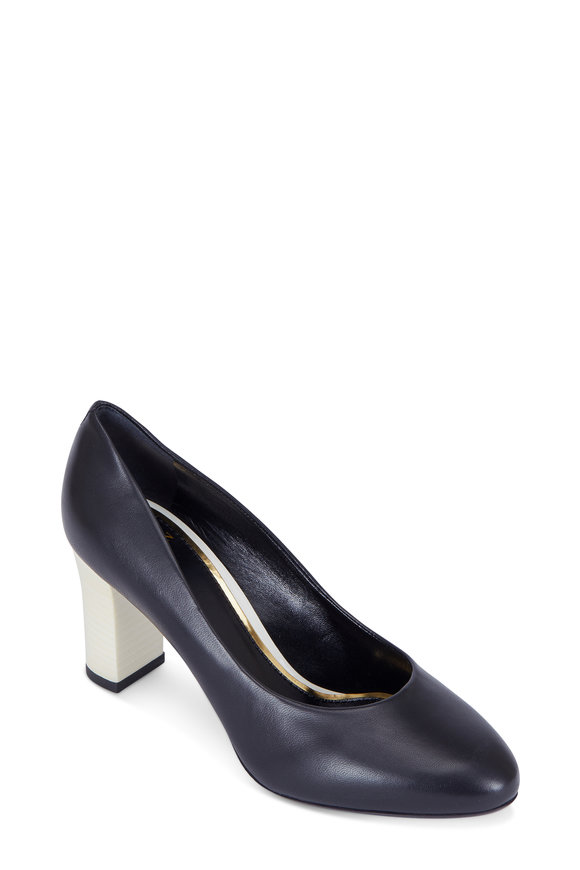 Lanvin Black Leather Ivory Stacked Heel Pump, 75mm