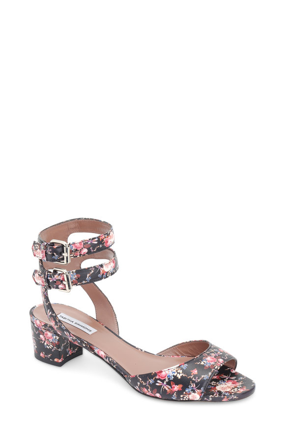 Tabitha Simmons Black Rose Leather Double Ankle Strap Sandal, 40mm
