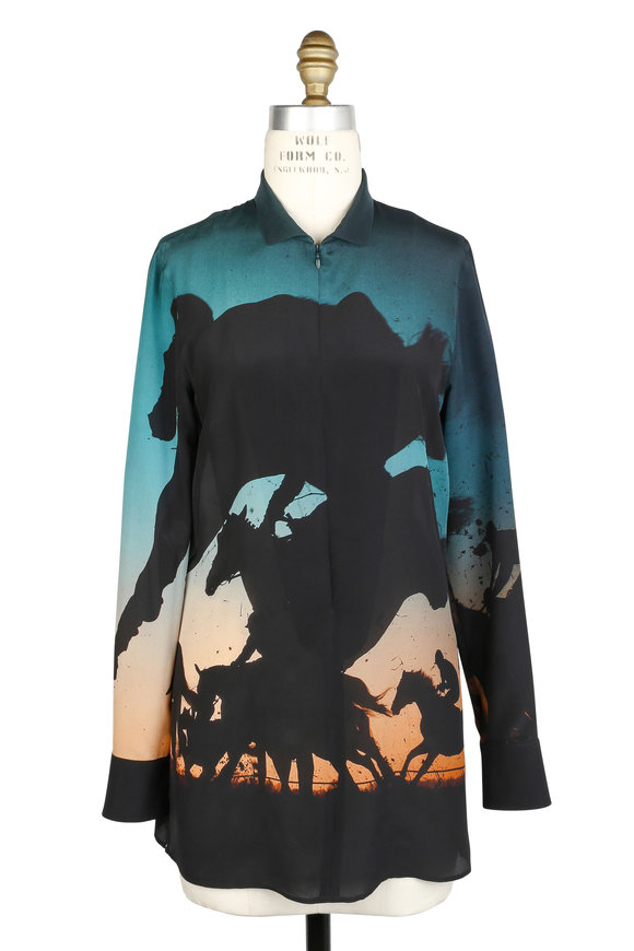 Akris Multicolor Turf Print Silk Blouse
