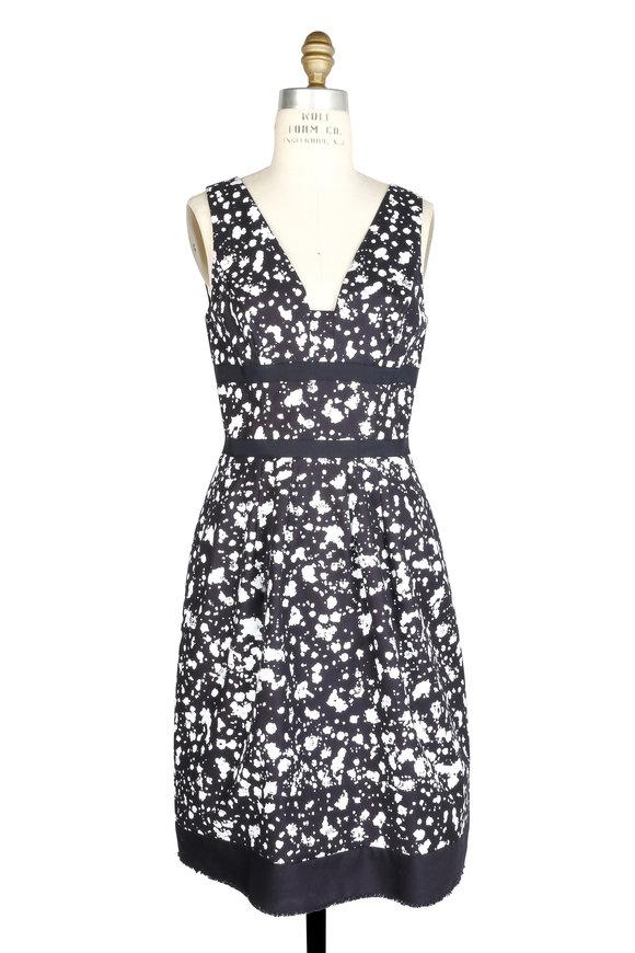 Carolina Herrera Navy Blue & White Speckled Print Sleeveless Dress