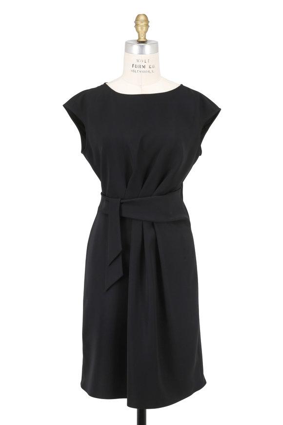 Armani Collezioni Black Tie Waist Cap Sleeve Dress