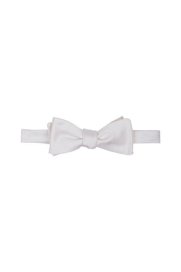 Dion White Silk Faille Bow Tie