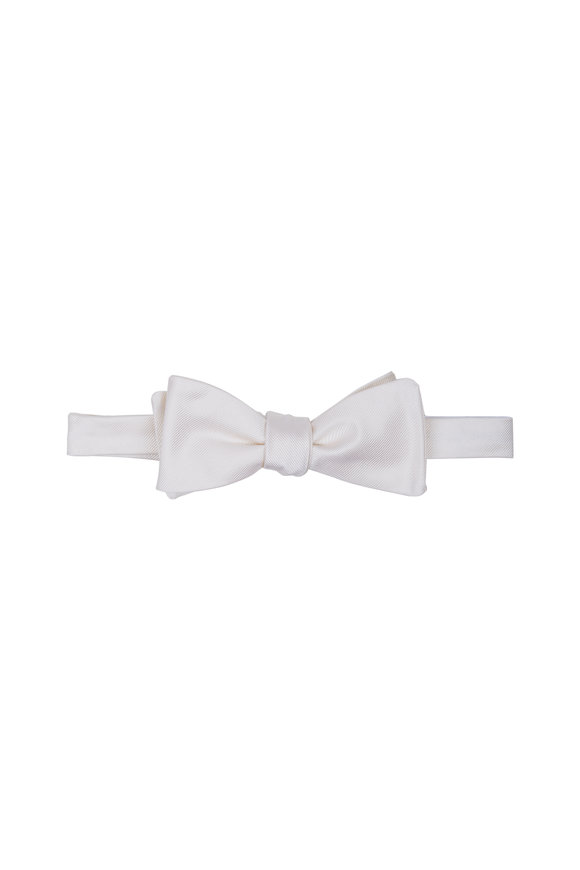 Dion White Silk Faille Bow Tie