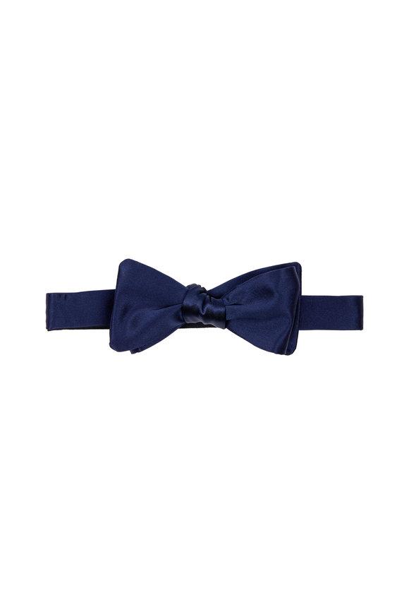 Dion Navy Blue Satin Silk Bow Tie