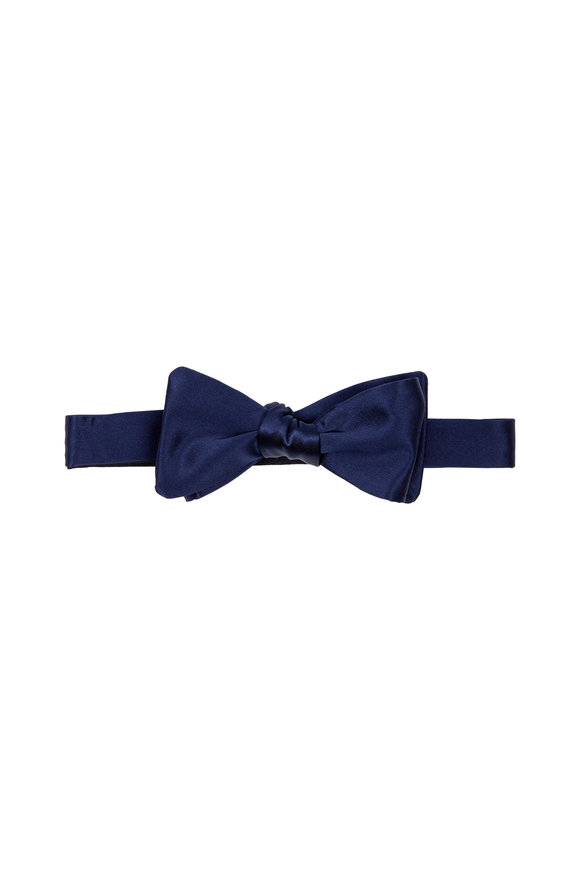 Dion Navy Blue Satin Silk Bow Tie