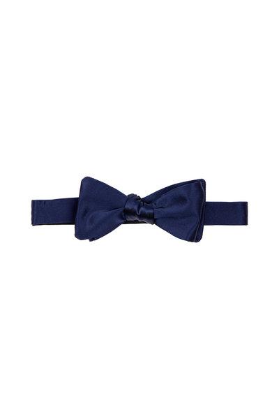 Dion - Navy Blue Satin Silk Bow Tie