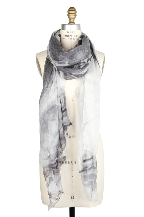 Brunello Cucinelli Gray & Ivory Cashmere Metallic Printed Scarf