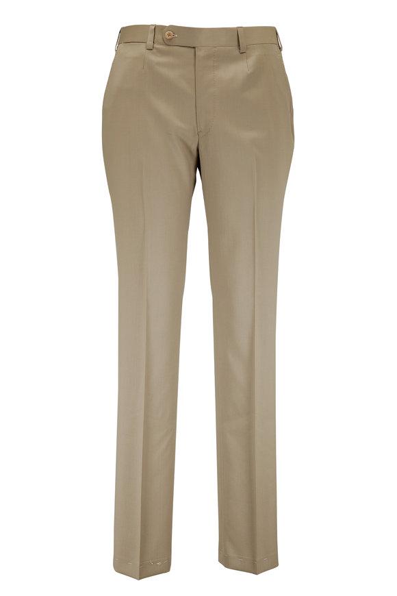 Oxxford Clothes Pearson Dark Tan Wool Trouser