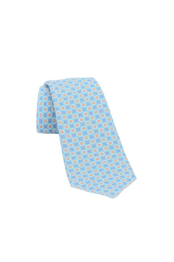 Kiton Teal Floral Linen Necktie