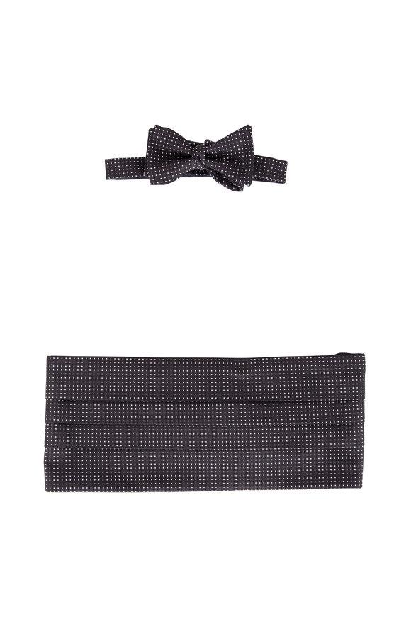 David Donahue Black Polka Dot Silk Cummerbund Set