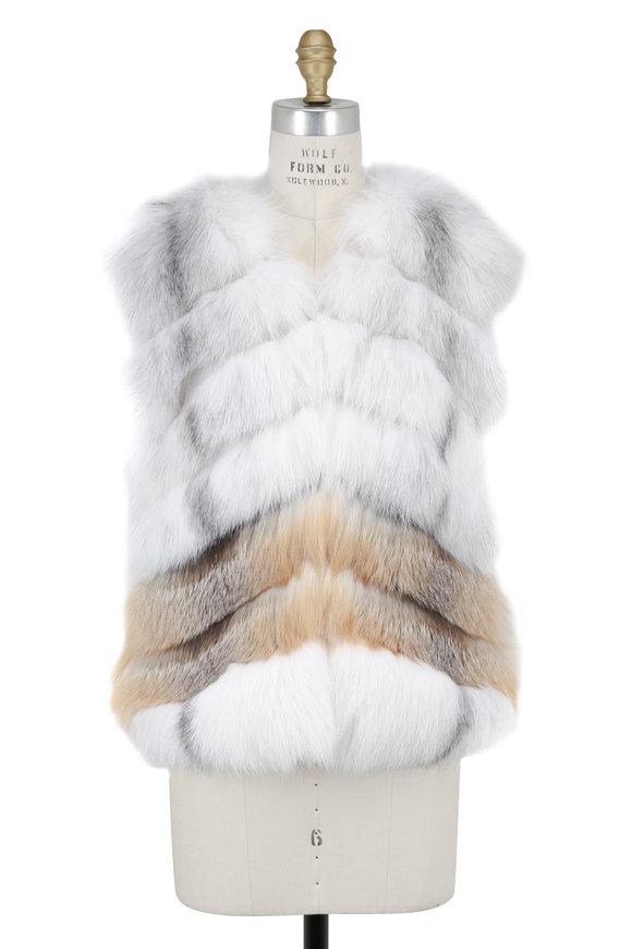 Oscar de la Renta Furs Arctic Marble & Natural Golden Fox Fur Vest