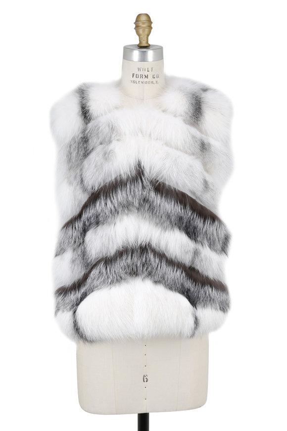 Oscar de la Renta Furs Arctic Marble & Silver Fox Fur Vest