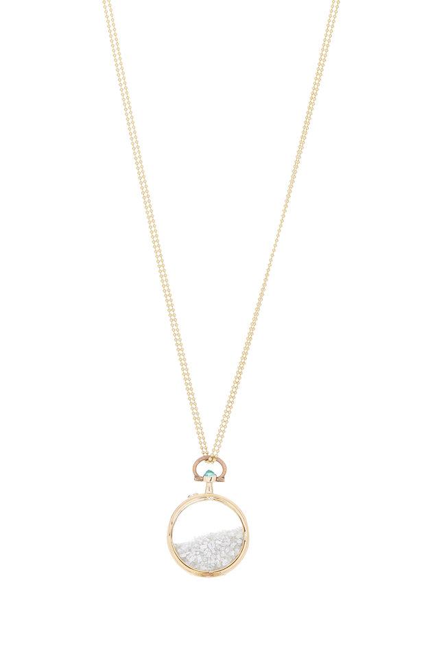 18K Yellow Gold Diamond Shake Necklace