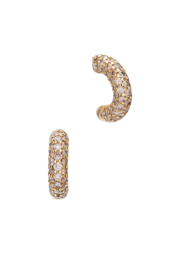 Kathleen Dughi 18K Yellow Gold Cognac Diamond Hoops