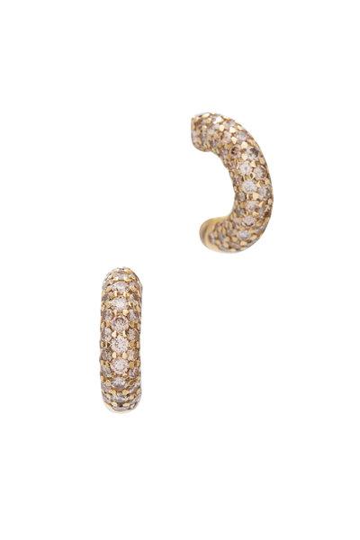 Kathleen Dughi - 18K Yellow Gold Cognac Diamond Hoops