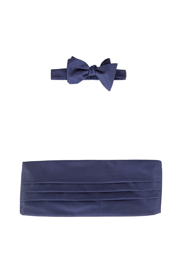 Carrot & Gibbs Navy Blue Grosgrain Silk Cummerbund Set