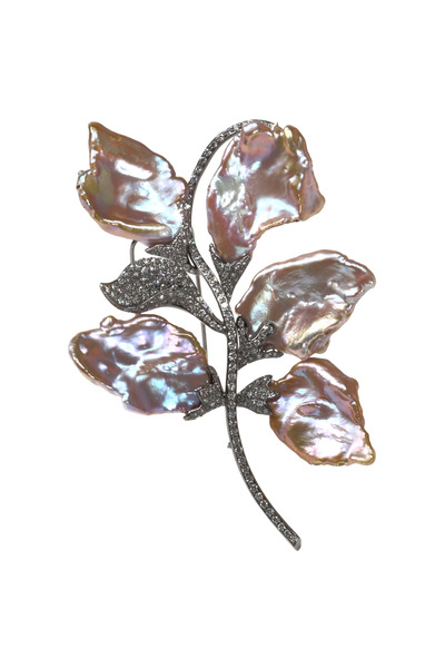 Assael - Black Gold Freshwater Pearl Diamond Flower Brooch