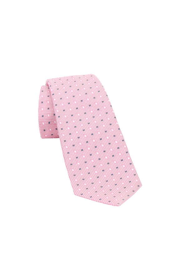 Kiton Pink Geometric Square Silk Necktie