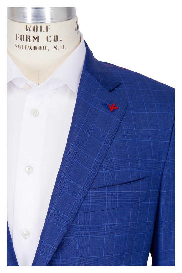 Isaia Royal Blue Wool & Silk Plaid Suit