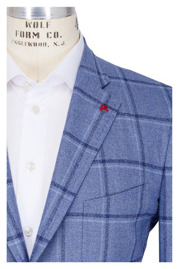 Isaia Medium Blue Wool & Silk Windowpane Sportcoat