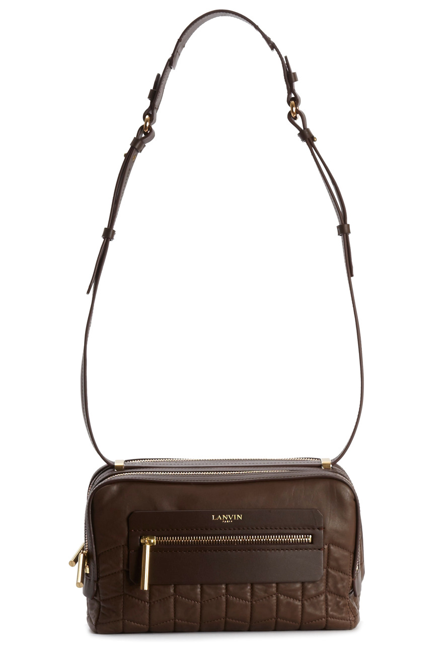 Padam Brown Leather Double Zip Crossbody