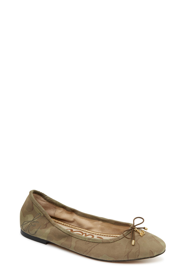 Felicia Olive Camouflage Print Ballet Flats